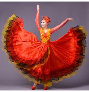 Red green white Expansion spanish bull dance dresses modern dance costume stage performance wear clothes dance clothes