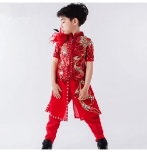 Red jazz dance boy's kids children competition stage performance hiphop magician drummer dancers model show competition costumes