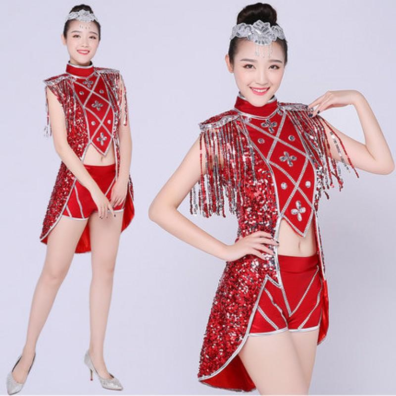 Red Paillette Jazz Dance Stage Costumes For Singers Hip Hop Dance Costume Female Ds Dj Rhinestone Tuxedo Tops Nightclub Dresses