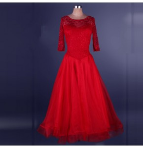 Red purple lace backless short sleeves competition performance professional ballroom tango waltz dance dresses