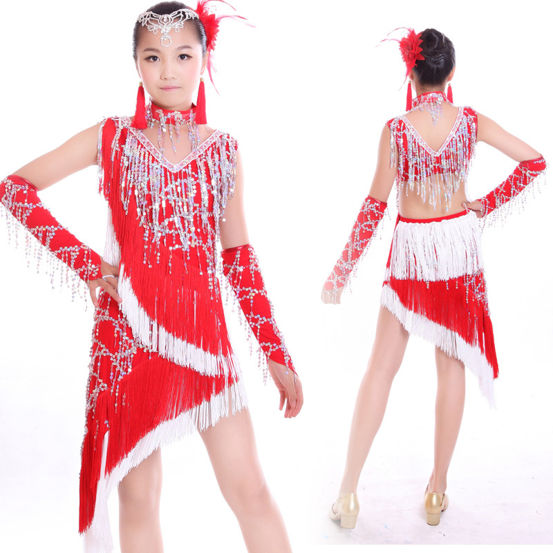 cc32b9913fd5 Red royal blue turquoise sequined fringes latin dresses girl  s kids ...