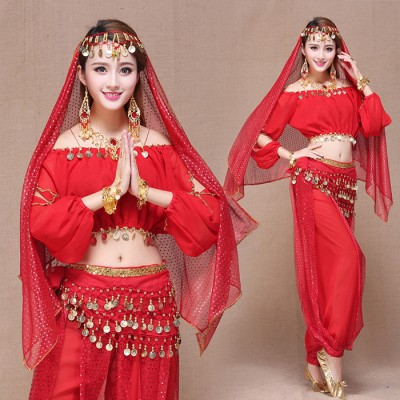 Red royal blue yellow turquoise Stage Performance Oriental Belly Dancing Clothes Bellydance Costume Stage & Dance Wear for Women