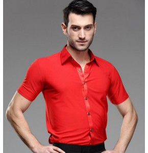 Red short sleeves down collar men's male competition performance ballroom latin dance shirts tops