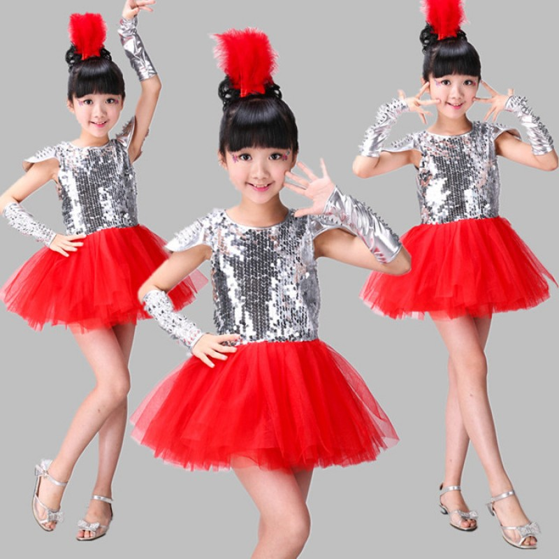 351fa00e8 Red silver children Jazz Dance Costumes Dance Dress Girls Princess ...