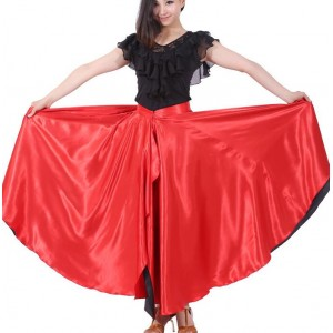 Red Spanish flamenco dance skirts women's classical folk Spanish flamenco competition belly dance skirts hip scarf