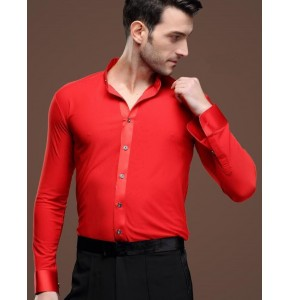 Red stand collar long sleeves men's male competition performance ballroom tango latin waltz dance shirts