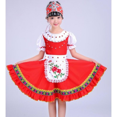 Red white patchwork European palace style girls boys kids Russian party performance cosplay Spanish folk dance dresses outfits