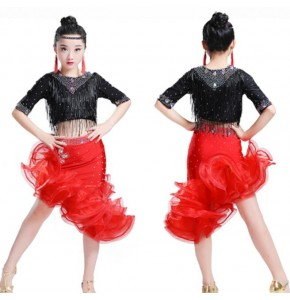 Red with black beads fringes handmade girl's children student competition professional ballroom latin dance dresses