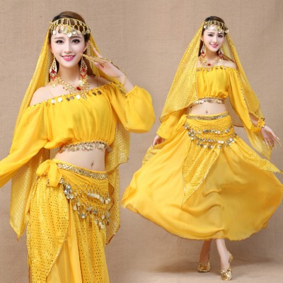 red yellow 4pcs Belly Dance Costume Bollywood Costume Indian Dress Bellydance Dress Womens Belly Dancing Costume Sets Tribal