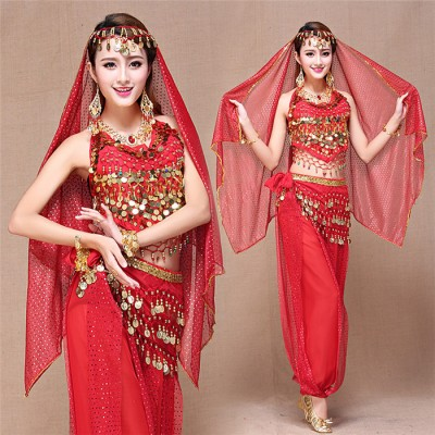 Red yellow blue 4pcs Belly Dance Costume Bellydance Triba Gypsy Indian Dress Belly Dancing Clothes Belly Dancing Bollywood Dance Costumes