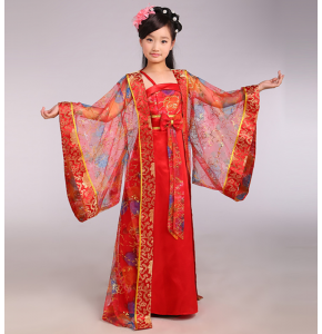 Red yellow blue Children Chinese Traditional Costume Girl Princess Royal Dance Dress Ancient Tang Dynasty Costume Kids Hanfu National Costume