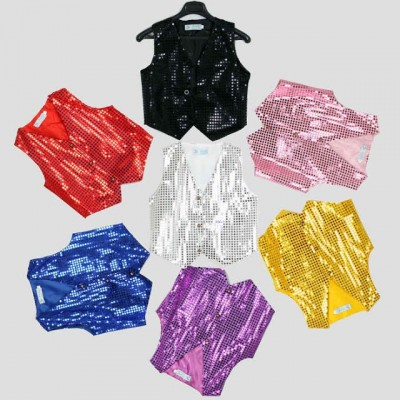 Red yellow Children's clothing Boys Choir students performing Kids hip-hop jazz dance sequined vest Dance wear costumes