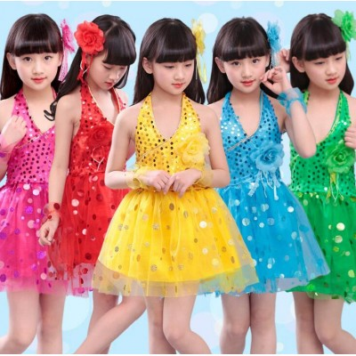 Red yellow Childrens Performance Stage Latin Jazz Salsa Ballroom Dance Sequins Tutu Dress Girls Kids Dancewear Costumes Dress