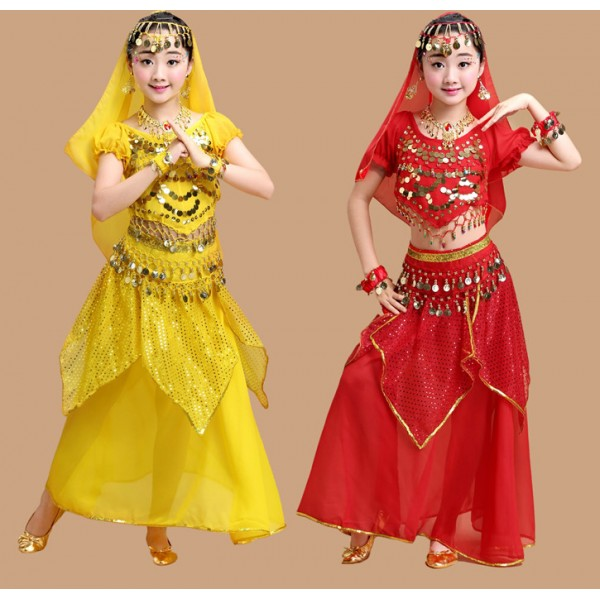Red Yellow Fuchsia Belly Dance Costume Kids Indian Dance Dress Child  Bollywood Dance Costumes Girls Performance Bellydance Wear Tribal    Material : Chiffon ...