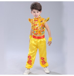 Red yellow gold Chinese style Folk dance girls boys children fan drummer performance cosplay dance outfits