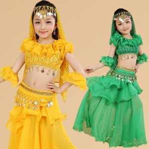 Red yellow green Children/Girls/Kids Dance Clothes 5 Piece(Top+Cake Skirt+Waist Chain+Veil+ Sleeve Arm) Costume For Belly Dance Dresses