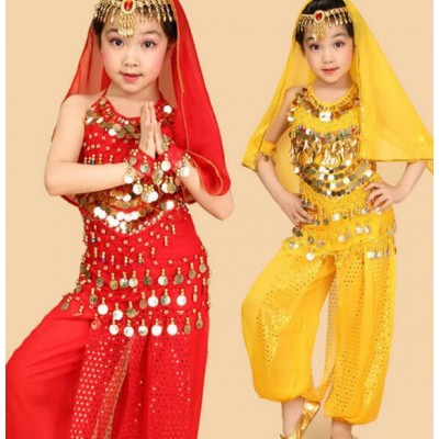 Red yellow kids belly dance 6 pcs(top+pant+belt+head chain+hand chain+veil) indian clothes  pink girls belly dance costume
