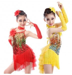 Red yellow Latin Dancing Dress Girls Performance Tassels Sequins Latin Dance Costumes Size 120-160CM