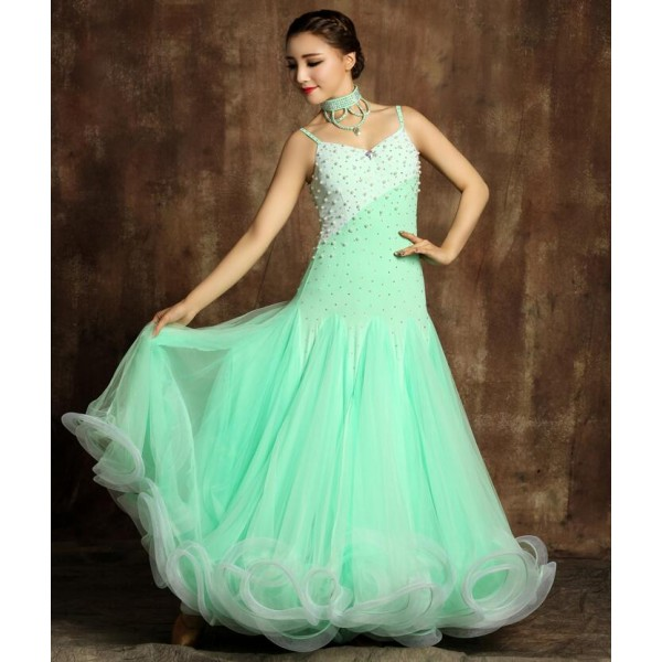 Rhinestone Mint Green Ballroom Dance Compeion Dresses Waltz Standard Dress Women Material Microfiber And