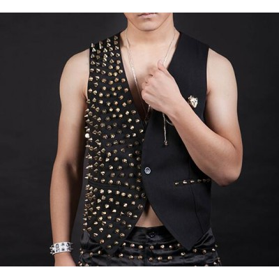 Rivet jazz dance waistcoats men's male competition stage performance night club hipjop singers dancers dancing waistcoats