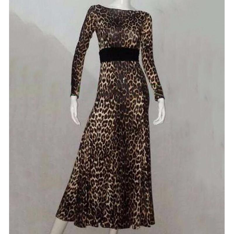 17351643f6 Rose leopard Ballroom Dance Dress Women Escapulario Flamenco Skirt Vestidos  De Festas Vestidos De Baile De
