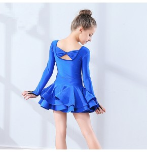 Royal blue black  girl's latin dresses competition stage performance professional latin ballroom dance dresses