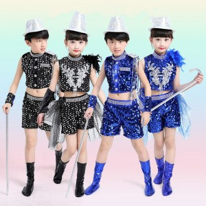 Royal blue black sequins paillette boys girls kids children school competition jazz dance costumes outfits