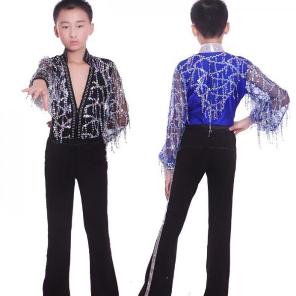 Royal blue Dance costumes for boys kids latin dancing pants+shirt dance wear boy ballroom  sc 1 st  Wholesaledancedress.com & Royal blue Dance costumes for boys kids latin dancing pants+shirt ...