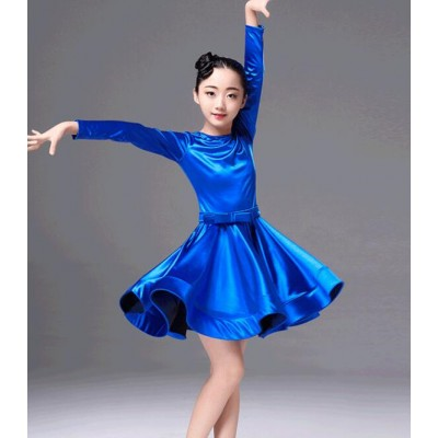 Royal blue girls ballroom dresses competition kids children gymnastics  stretchy satin shiny latin salsa ballroom dance dresses