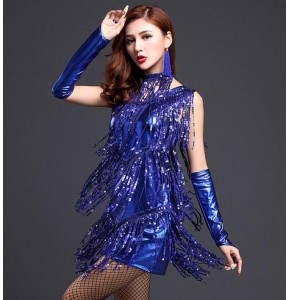 Royal blue gold silver sequined fringes leather competition professional  women's female salsa cha cha latin dance dresses