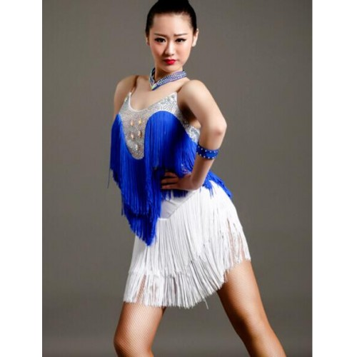 1f51675a8 ... Royal blue green fuchsia New Adult Latin Dance Dress Women/Girls Cha Cha /Rumba