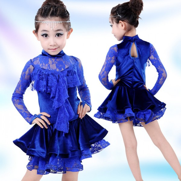 Royal Blue Latin Dance Dress For Girls Lace Top&Skirt