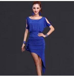 Royal blue Latin Dance Dress Women For Sale red/black Fitness Clothes Stage Costumes Tassel Cha Cha/Rumba Dance Dresses