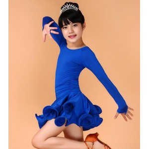 Royal blue long sleeves ballroom latin dance dress competition stage performance salsa cha cha rumba dance dresses