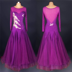 Royal blue red purple rhinestones see through long sleeves competition performance professional ballroom waltz dance dresses