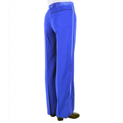 Royal blue red Satin Ribbon On Side Panel Ballroom Tango Salsa Samba Pants Dancing Mens Latin Dance Pants