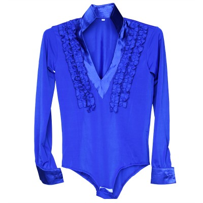 Royal blue red Spandex Stage Performance Competition Boys Ballroom Dancing Shirt / Boys Latin Shirt