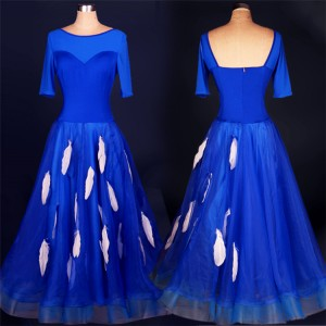 Royal blue turquoise white feather long length competition professional women's girl's ballroom tango waltz dancing dresses