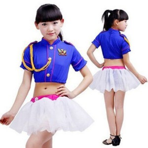Royal blue white girl's kids children  patchwork England style competition school cheerleader performance modern dance jazz dance costumes dresses