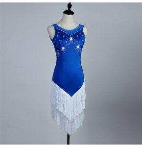 Royal blue white see through back sleeveless female women's competition professional latin salsa cha cha dance dresses