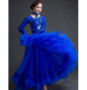 Royal blue women high-end big swing standard Ballroom Dance Costume Dress for competition sequins waltz/tango/foxtrot costumes