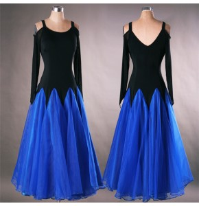 Royal blue yellow hot pink Ballroom Dance Dresses Long Sleeve Flamenco Dancing Women competition professional Stage Waltz Ballroom Dresses