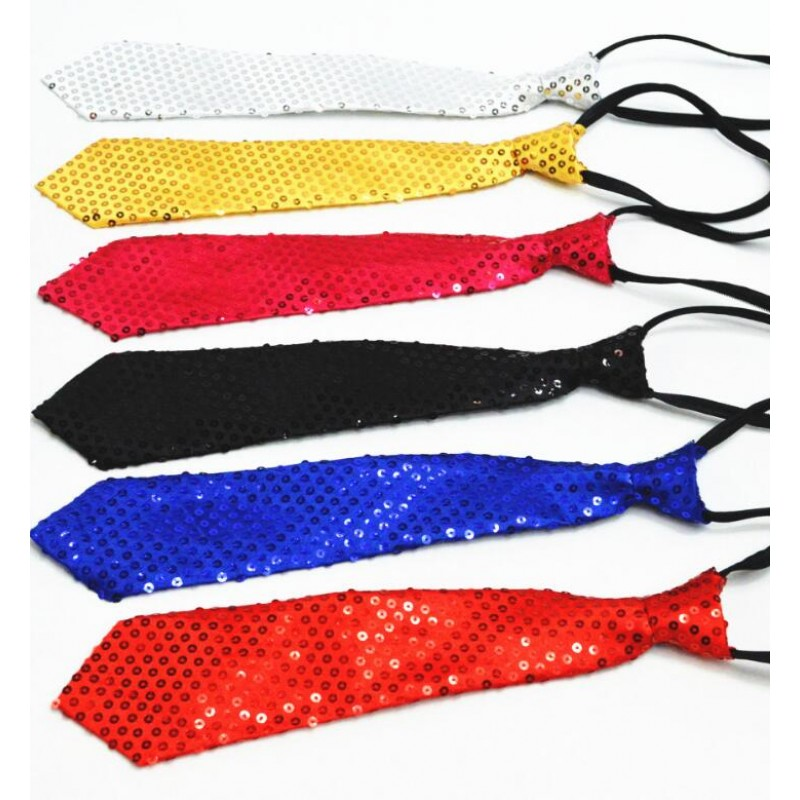 Sequined boy's children kids girls jazz singers hiphop dancing accessories necktie neck cloth