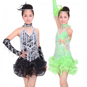 Sequined fringe latin dresses girl's kids children green white black pink  competition stage performance salsa chacha latin dance dresses
