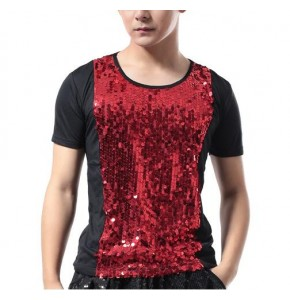 Sequined jazz dance tops men's male competition stage performance singers night club dj ds hiphop dancing tops t shirts