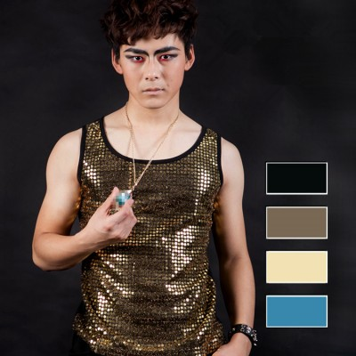 Sequined jazz dance vests men's male competition stage performance jazz singers dj ds night hip hop dance vest tops