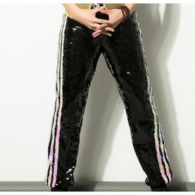 Sequined modern dance hip hop men's male competition stage performance singers dancers dancing pants