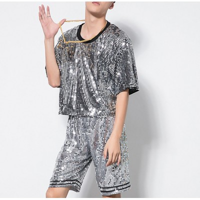 Sequined modern dance hiphop dance men's male competition stage performance night club jazz singers dance outfits costumes