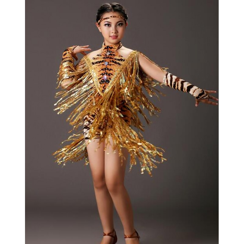 Sequins fringes Brown fuchsia tiger printed sexy fashion girls kids children competition latin dance dresses