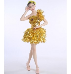 Sequins paillette Gold Jazz Dance Modern Dance Costume Fashion High Quality Dancing Dress Stage Show Dresses